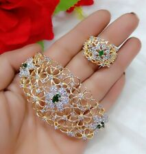 Indian Bollywood American Diamond Gold Plated Bracelet Ring Combo Set