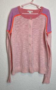 Crewcuts J. Crew Girls Size 14 Colorblock Cardigan Sweater Pinks Cotton So Cute!