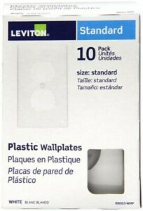 Leviton 1 Gang Duplex Receptacle Plate, White - (10-Pack)