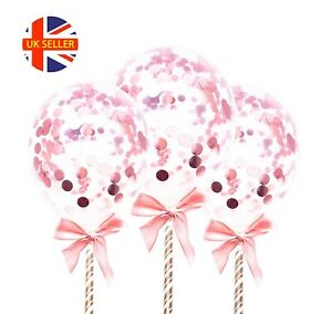 3pcs x Cake Topper Balloon Mini Rose Gold Decor Party Wedding Baby Bridal Shower