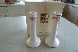 Vintage pair of tall porcelain CANDLE STICKS Scandinavian design Kitchen Craft