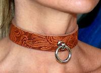Abschließbares weiches BDSM Leder Halsband der O Ring gothic Fetish braun neu