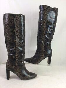Next Snakeskin Print Knee High Boots New Tagged UK 6 EU 39 Block Heel V176