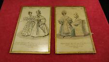 Lot de 2 gravures de mode datées 1834, Costumes Parisiens, Journal des Dames