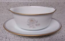 Vtg Noritake Blair Rose 6519 Gravy Boat Attached UnderplatenGray White Gold Rose