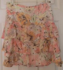ANN TAYLOR LOFT SKIRT SIZE 2 RUFFLED SHEER WITH ATTACHED SLIP, SIDE ZIPPER