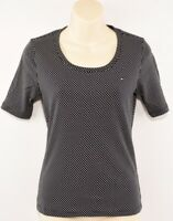 TOMMY HILFIGER Women's Polka Dot Short Sleeve T-shirt Top, Black, size S
