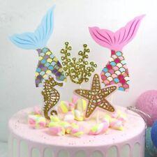 Mermaid  Cake Topper Glitter 5 Pcs Party Decorations Decor