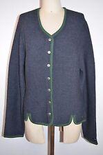 Landhaus Cardigan Button Wool Blend Sweater Navy w/Green Trim NWOT Womens L