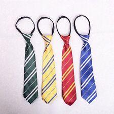 Kids Harry Potter Ties Zipper Fasten Style Hogwarts School Striped Necktie Gift