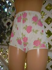 VINTAGE 1960'S WHITE & PINK ROSES SHEER ACETATE UNLINED GRANNY PANTY BRIEF 9/XL