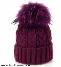 Merino Wool Hat w/ Real Fur Detach PomPom Braided Knitted Beanie Ski Cap $89 NWT