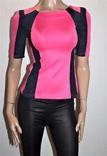 SLIDE SHOW Designer Pink Navy Faux Suede Short Sleeve Top Size 8 BNWT #TB52