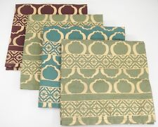 "Pier 1 Napkins Set of 4 Burgundy Teal Green with Gold Design 18"" Square Unused"