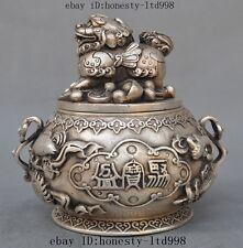 Marked Old Chinese Silver Lucky Pixiu Wealth Money yuanbao Pot Jar Tank Crock