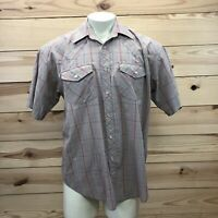 Falcon Bay Western Shirt Large Tan Blue Red Plaid Short Sleeve Snap Down B83