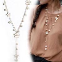 Fashion Women Long Flower Pearl Necklace Pendant Chain Elegant Jewelry Gift