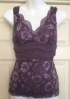 VTG Fredrick's Of Hollywood ~ Purple Lace Chiffon Camisole Blouse Top Gorgeous S