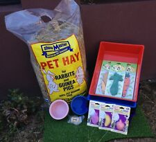 Rabbit Basic Starter Pack - Pet hay, Food Bowl, Litter Tray,Wood Chew Toy + more