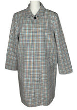 NEW Womens Talbots Plus Ivory Plaid Collared Lined Trench Coat Jacket Size 16W