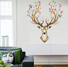 Removable Wall Sticker Deer Flower Bird Tree Animal Mural Decal Home Decor