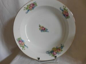 SD Limoges France Large Dish Round And Deep Porcelain Decor Baskets of Roses