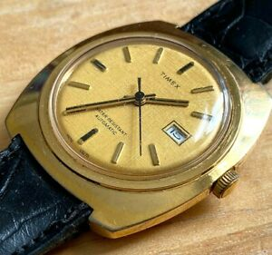 Vintage Timex Viscount Mens Gold Tone Self-Wind Automatic Mechanical Watch Hours