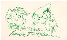 Hank Ketcham Hand Drawn  Dennis the Menace  Sketch on 3x5 Card Signed w/ COA Comic Art