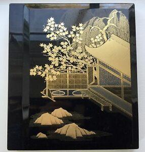 RARE Vintage OTAGIRI Black Golden Court Lacquerware PHOTO ALBUM Holds 3x5 Photos