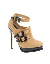 ASOS BRILLIANT Tan Leather Heavy Buckle Ankle Shoe Black Patent Platform SIZE 7