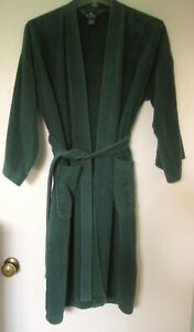 Men's Surrey Forest Green Robe Belted Thick 100% Velour Cotton Regular One Size