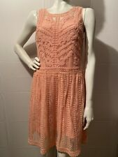 NWT Bebe Dress Lace Embroidered Sleeveless Lined Boho Chic Rose Pink Size 8 $159