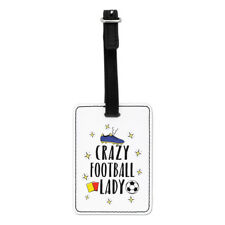 Crazy Football Lady Visual Luggage Tag Suitcase Bag - Funny Soccer Sport