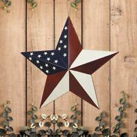 "Patriotic Metal Barn Star Outdoor Indoor Hanging Wall Decor Star Ornaments 12"""