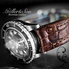 Müller&Son 23 mm Horween Leather Brown Alligator Print Watch Strap Deployment