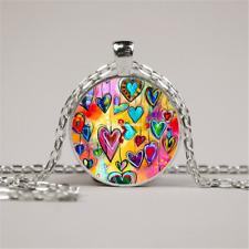 Glass Silver Chain Pendant Necklace Vintage Love Heart Photo Cabochon