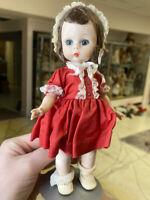 """8"""" Vintage Madame Alexander ALEX Doll in Red Dress 1950s Walker Flutter Eyes"""