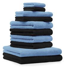 Betz lot de 10 serviettes Premium: noir & bleu clair, 100% coton