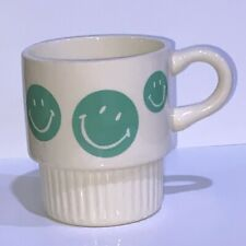 Vintage McCoy Happy Smiley Face Ribbed Ivory C Handle Coffee Cup Mug USA Pottery