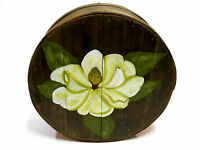 Vintage Pantry Storage Cheese Round Hand Painted Magnolia Box Primitive Folk