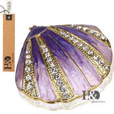 Handmade Crystal Metal Purple Shell Trinket Boxes Figurines Jewelry Wedding Gift