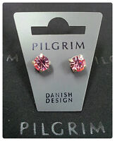 NEW PILGRIM DENMARK SILVER PLATED EARRINGS PINK SWAROVSKI CRYSTALS CLASSIC STUD