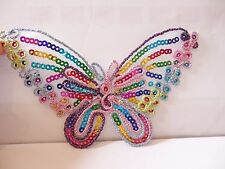 1 extra large multi colored butterfly patches patch sequin applique iron on sew