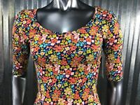 LuLaRoe Nicole Dress 3 Qtr Sleeve Blue Teal Rust Pink Flowers XXS Size 0 NEW