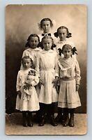 6 Cute Little Girls Doll Id'd Sheppard Silvia Lola Bernice Elsie Alta Ethel 1912