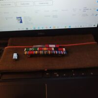 WW2 Army First Lt. Artillery's Officer Garrison Hat W/ 8 Ribbon WW2 Ribbon Rack