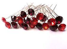 20pcs x 8mm RED Glass Crystal Rhinestone Diamante Wedding Bridal Hair Pin