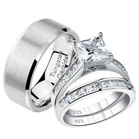 Details about  /Wedding Rings Set For Him /& Her Women Men Tungsten Bands Cz Sterling Silver 5-12