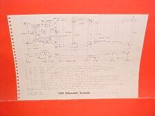 1969 OLDSMOBILE TORONADO HARDTOP SPORT COUPE FRAME DIMENSION CHART