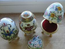 More details for 3 vintage antique faberge egg style pin cushion holden deign flowery +free heart